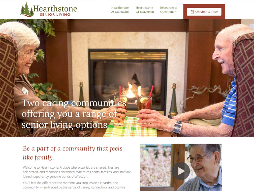Hearthstone Senior Living Website UX & Development