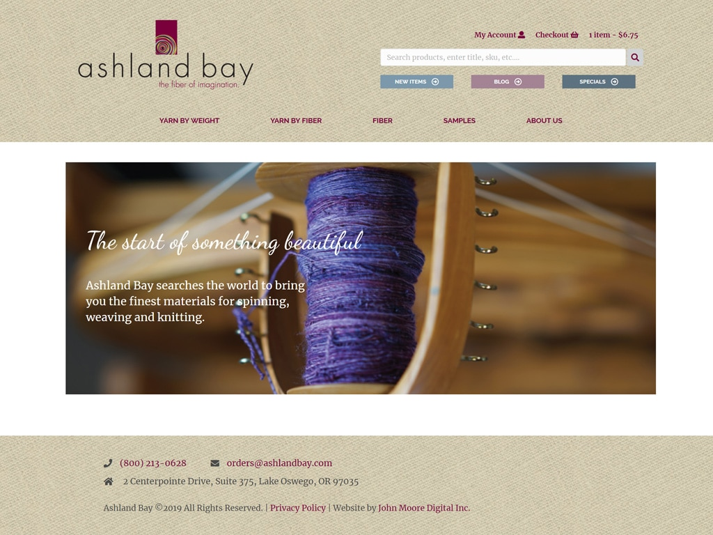Ashland Bay Website Screenshot