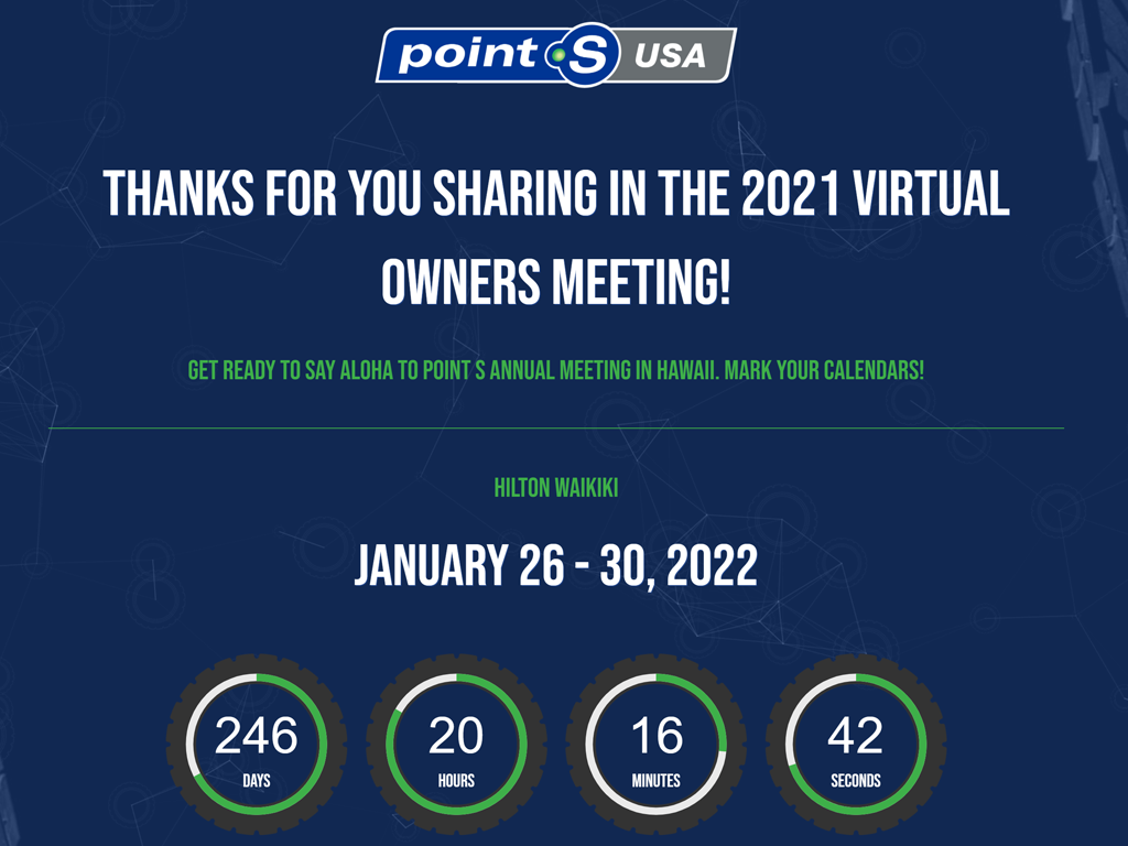 Point S Tires Annual Meeting WordPress Website Created in Bend, Oregon